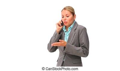 avoir, business, phone, désinvolte, femme