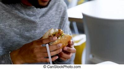avoir, café, homme, 4k, hamburger