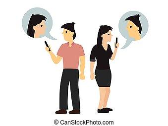 avoir, conversation., autre., ils, désinvolte, ligne, chaque, conversation, même, suivant, couple, concept