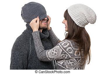 avoir, couple, jeune, amusement