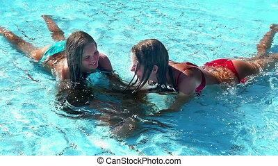 avoir, eau, enfants, lent, amusement, mouvement, peu profond...