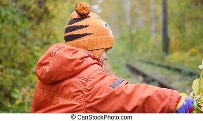 avoir, enfant, parc, air, automne, promenades, amusement, frais, feuilles, jouer