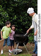 avoir, famille, jardin, barbecue