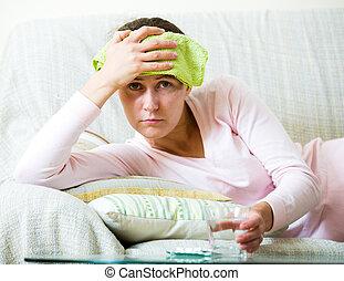 avoir, femme, fatigué, problèmes, mal tête
