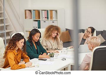 avoir, femmes, business, cinq, réunion
