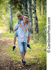 avoir, fils, parc, ensoleillé, père, amusement, jour