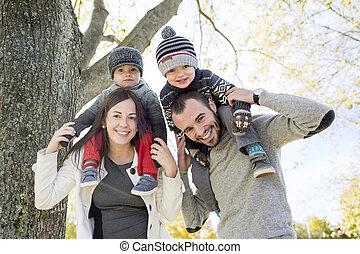 avoir, heureux, amusement, parc, famille, automne