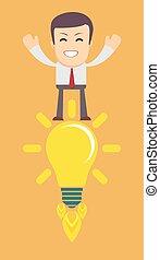 avoir, jeune, idea., homme, ampoule, lumière
