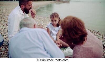 avoir, lac, picnic., multigeneration, vacances famille