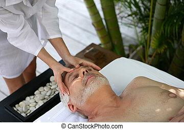 avoir, masage, homme
