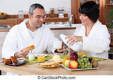 avoir, petit déjeuner, ensemble