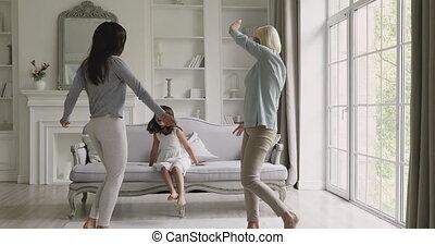 avoir, room., excité, générations, vivant, amusement, trois, famille