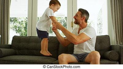 avoir, sofa, père, fils, amusement, 4k