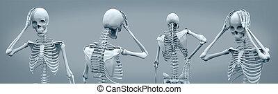 avoir, squelettes, maux tête