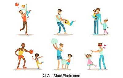 avoir, vecteur, leur, illustration, pères, temps, bon, apprécier, amusement, ensemble, gosses, jouer, heureux