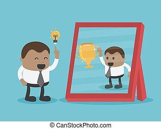 avoir, victoire, miroir, bon, réalisé, reflet, homme ...