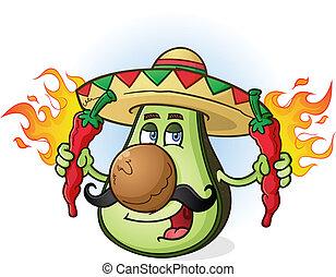 avokádó, mexikói, karikatúra, betű