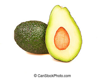 avokado - cut up avocado on pure white background with a ...