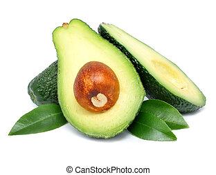 avokado, frukter, snitt, med, blad, isolerat, vita