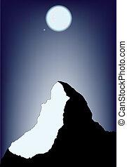 avond, berg, scène