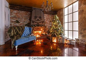 avond, candlelight., flats, classieke, kadootjes, boom., fireplace., kerstmis