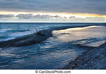 avond, hemel, bewolkt, het charmeren, zee, onder overzicht