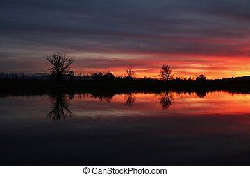 avond, hemel, pfaffikon, kleurrijke, meer