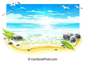 avond, island., ondergaande zon , vector., paradijs, strand, zanderig