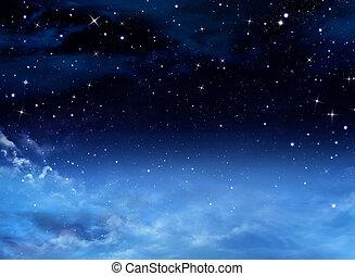 avond lucht, met, sterretjes