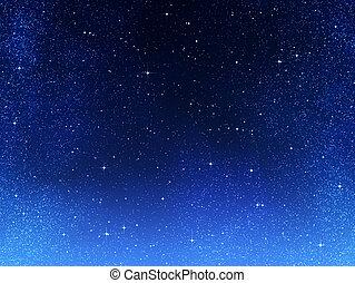 avond lucht, of, sterretjes, ruimte