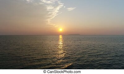 avond, luchtopnames, vliegen, neuriën, zee, kalm, terugtocht