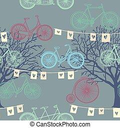 avond, model, seamless, bicycle., retro, achtergrond