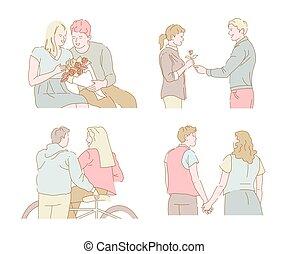 avond, romantische, bouquetten, wandeling, stellen, fiets helpend, datering