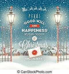 avond, straat, winter, ouderwetse , -, groet, tegen, feestdagen, vector, ontwerp, illustratie, landelijk, type, kerstmis, landscape, lantaarntje