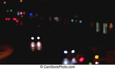 avond, verkeer, op, autosnelweg
