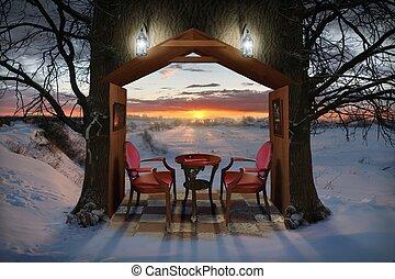 avond, winter