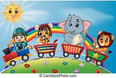 avonturier, en, dieren, op, de, trein, met, regenboog, illustratie