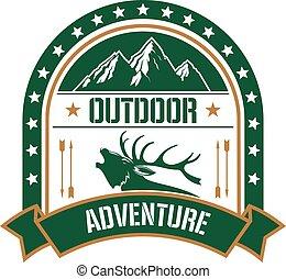 avontuur, club, badge, ontwerp, met, hertje, en, berg
