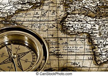 avontuur, stilleven, met, retro, marine, kompas, en, kaart