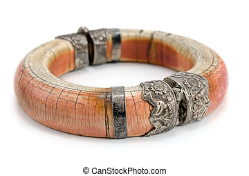 avorio, braccialetto, isolato, bianco