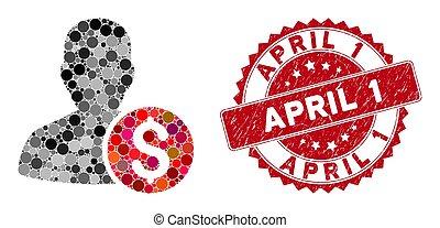 avril, 1, timbre, mosaïque, textured, investisseur
