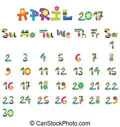 avril, 2017, calendrier
