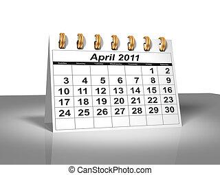 avril, calendar., bureau, 2011.