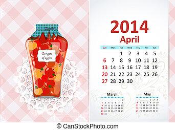 avril, calendrier, 2014