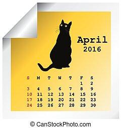 avril, calendrier, 2016