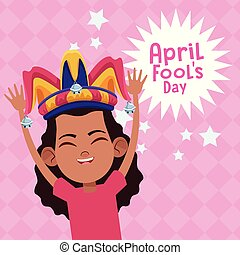 avril, fools, dessin animé, jour