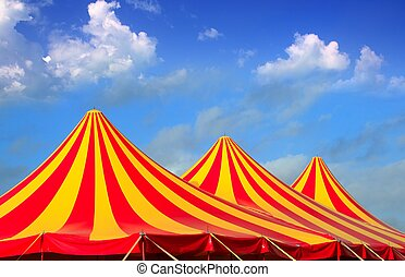 avrivet, cirkus, gul, mönster, apelsin, röd, tält