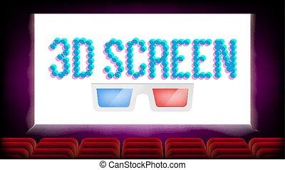 avskärma, 3, film, bio, vector., röd, seats., tom, premiär, affisch, design., illustration
