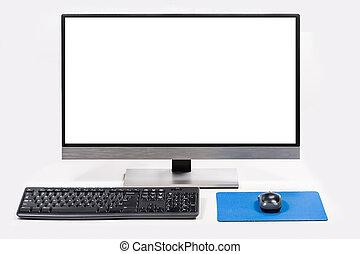avskärma, dator, isolerat, vit, skrivbord