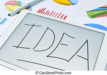 avskärma, dator, ord, idé, kompress